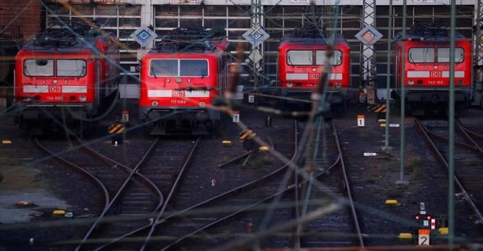 FILE PHOTO: Trains of German railway Deutsche Bahn are seen at the main train station in