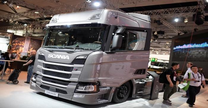 FILE PHOTO: Truck of Swedish company Scania is pictured in Hanover