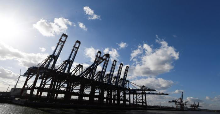 General view at the container terminal Eurokai in the port in Hamburg