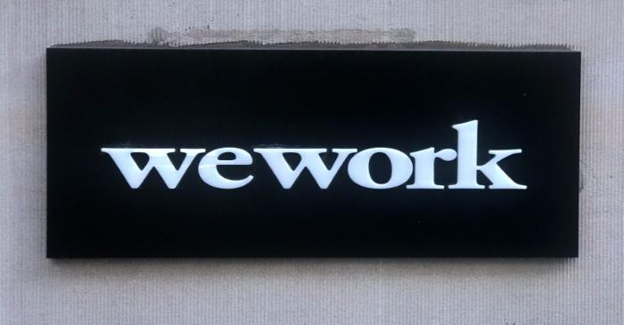 FILE PHOTO: A WeWork logo is pictured in the Manhattan borough of New York City