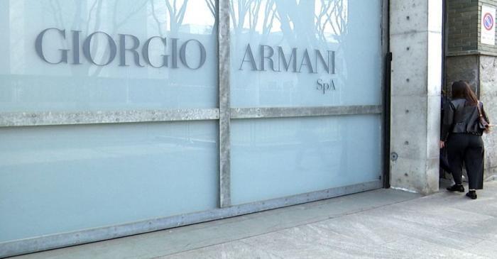 FILE PHOTO: A Giorgio Armani logo is seen after the Italian designer said his Milan Fashion