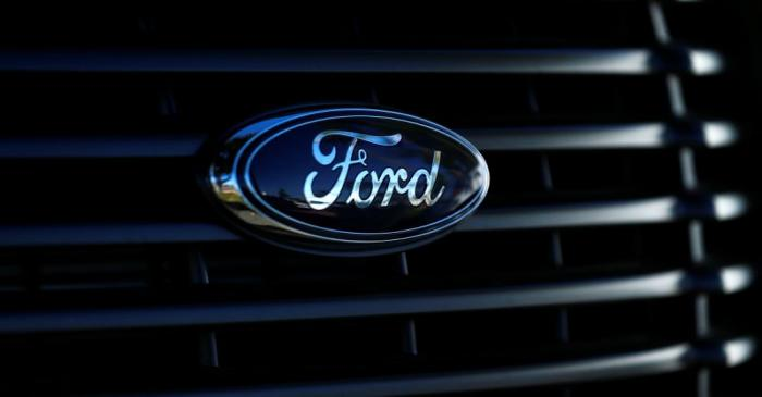 FILE PHOTO: FILE PHOTO: The front grill logo of a Ford pickup truck