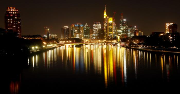 FILE PHOTO: The skyline with its financial district is photographed on early evening in