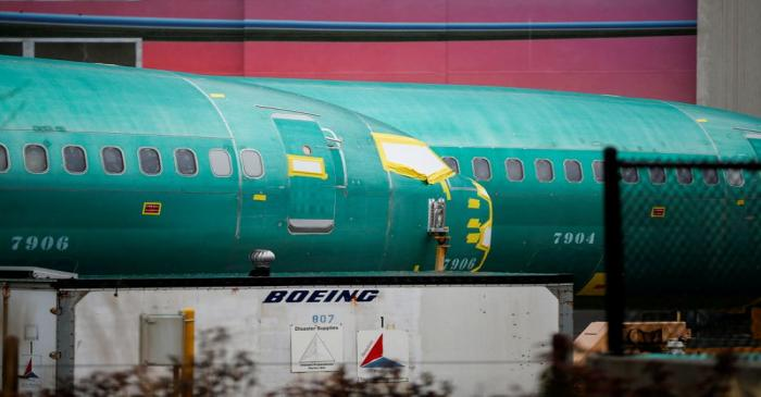 FILE PHOTO: Boeing 737 Max fuselages are seen parked outside the company's production facility