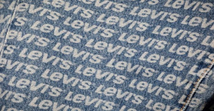 FILE PHOTO: The Levi's logo is seen stained on pants in a Levi Strauss store in New York