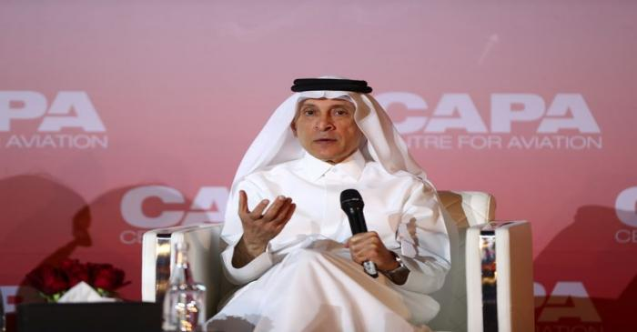 FILE PHOTO: Qatar Airway's Chief Executive Officer, Akbar Al Baker speaks at the opening