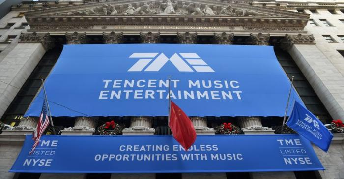 FILE PHOTO: Tencent Music Entertainment celebrates the company's IPO at the NYSE in New York