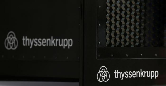 Thyssenkrupp's logo is seen in the elevator test tower in Rottweil