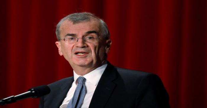 ECB policymaker Villeroy de Galhau, who is also governor of the French central bank, attends