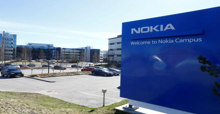 FILE PHOTO: A Nokia sign is seen at the company's headquarters in Espoo