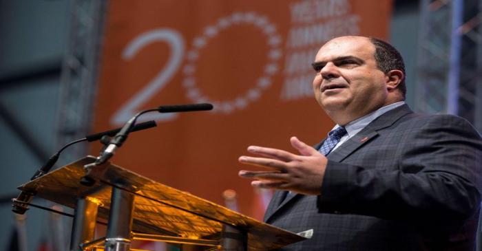 FILE PHOTO: Easyjet founder Stelios Haji-Ioannou speaks at a media event to celebrate 20 years
