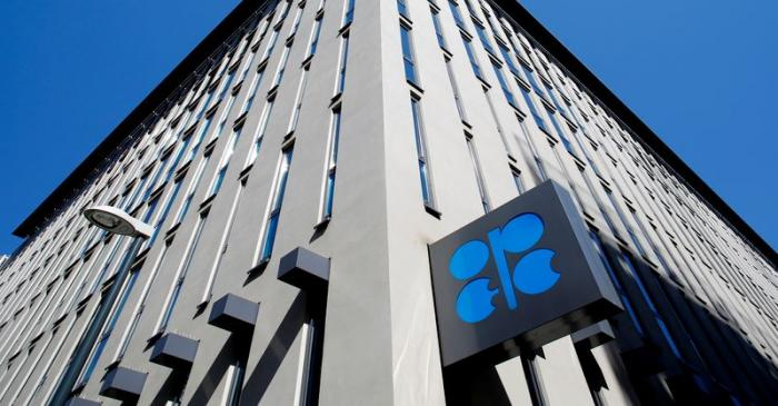 FILE PHOTO: The logo of the Organisation of the Petroleum Exporting Countries (OPEC) seen