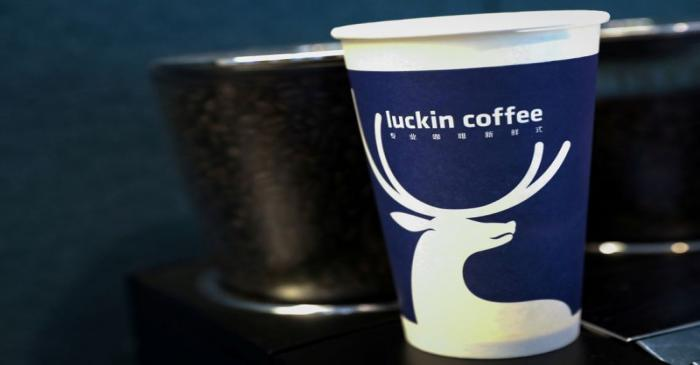 FILE PHOTO: A cup of 'Luckin Coffee,' coffee is displayed during the company's IPO at the