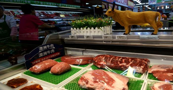 FILE PHOTO: Beef for sale is seen at a Walmart in Beijing