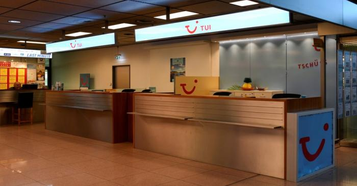 FILE PHOTO: A closed counter of the German travel company TUI is seen at the