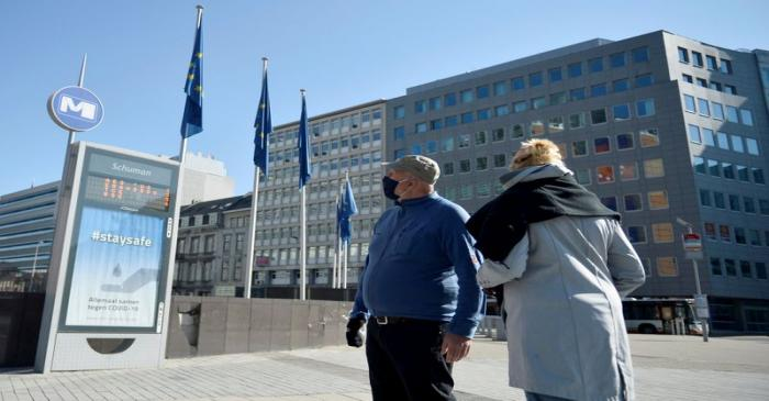 FILE PHOTO: Outside view of the European Commission headquarters in Brussels