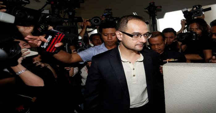 Riza Aziz, stepson of former Malaysia's Prime Minister Najib Razak, arrives at a court in Kuala