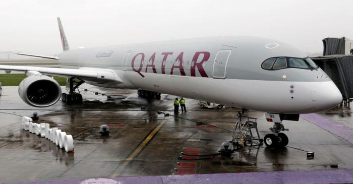 FILE PHOTO: An Airbus A350-1000 aircraft of Qatar Airways is pictured after a delivery ceremony