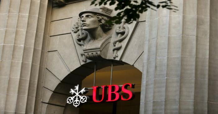 FILE PHOTO: The logo of Swiss bank UBS at its Zurich headquarters