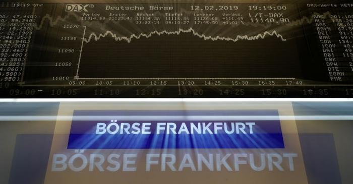 FILE PHOTO: The German share prize index (DAX) board is seen at the end of a trading day at the