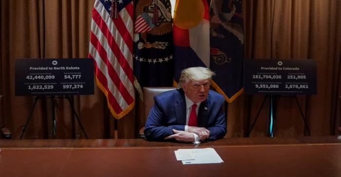 FILE PHOTO: U.S. President Donald Trump holds coronavirus response meeting with governors at