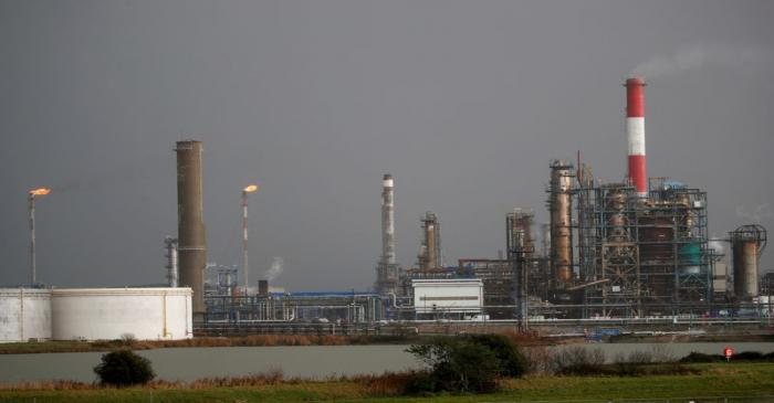 FILE PHOTO: A general view shows the French oil giant Total Refinery in Donges