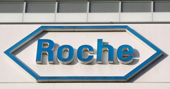 FILE PHOTO: The logo of Swiss drugmaker Roche at its headquarters in Basel