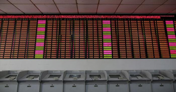 An electronic stock information board displaying zero numbers on the latests stock prices