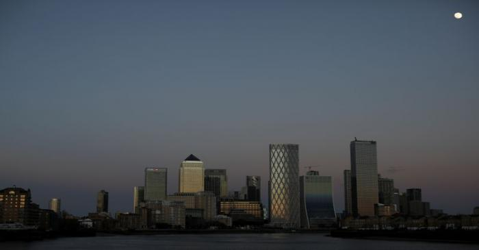General view of the Canary Wharf financial district in London