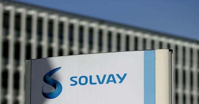 FILE PHOTO: The logo of Belgian chemical group Solvay is seen at its headquarters in Brussels