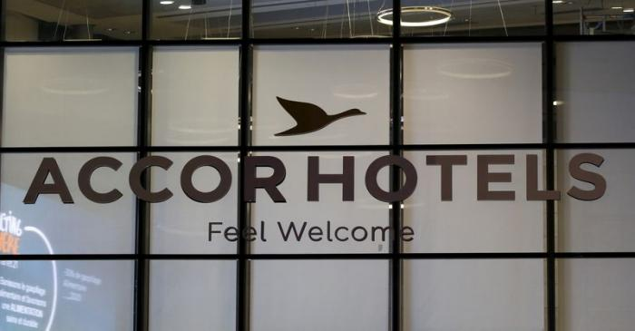 The logo of French hotel operator AccorHotels is seen on the facade of the company's