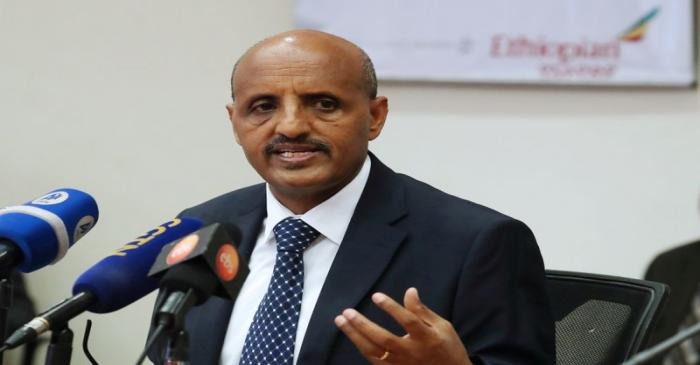 FILE PHOTO: Ethiopian Airlines CEO Tewolde Gebremariam speaks during a news conference amid