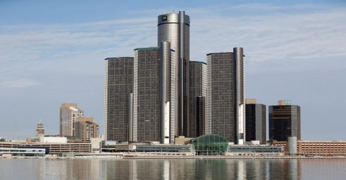 FILE PHOTO: The General Motors Co. headquarters is seen in Detroit from Windsor, Ontario