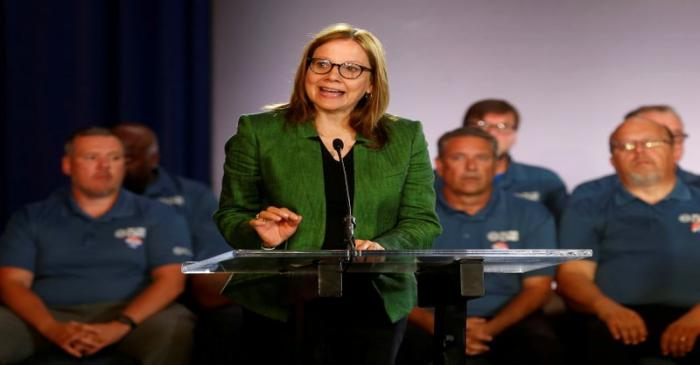 FILE PHOTO: General Motors Chairman and CEO Mary Barra makes a statement as members of the