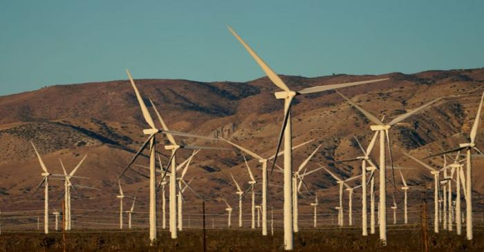 FILE PHOTO: A wind farm is shown in Movave, California