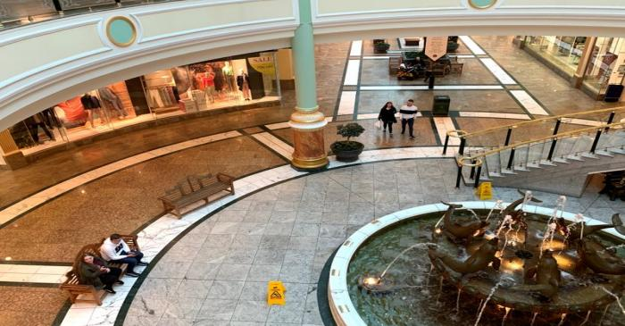 FILE PHOTO: Shoppers are seen inside a near deserted Intu Trafford Centre in Manchester