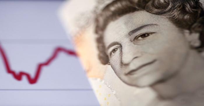 FILE PHOTO: A British pound note is seen in front of a stock graph in this picture illustration