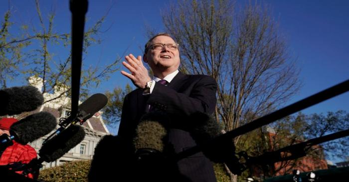 Kevin Hassett, chairman of the Council of Economic Advisers, speaks at the White House in