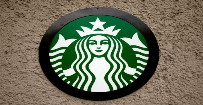 FILE PHOTO:  Company's logo is seen at a Starbucks coffee shop in Zurich