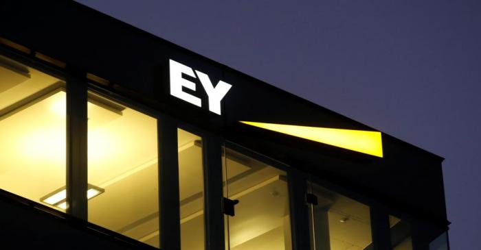 Logo of Ernst & Young is seen at a branch in Zurich