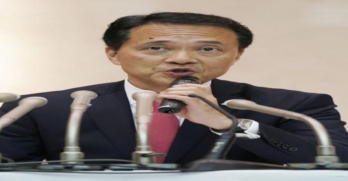 Japanese brokerage Nomura Holdings newly appointed chief executive Kentaro Okuda speaks at a
