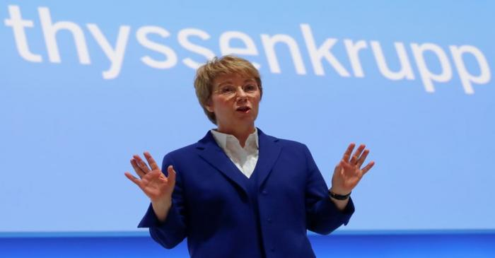 FILE PHOTO: Martina Merz, CEO of German conglomerate Thyssenkrupp AG, attends the annual