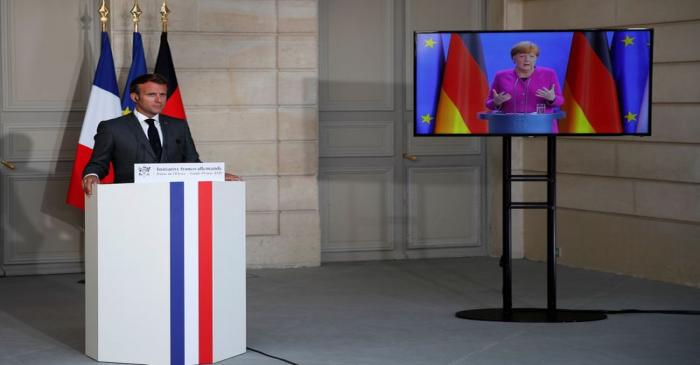 France-Germany joint video news conference at Elysee Palace in Paris