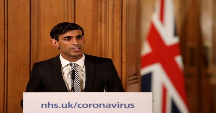 FILE PHOTO: British finance minister Rishi Sunak speaks at a coronavirus news conference in