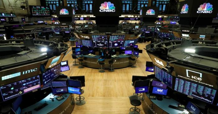 FILE PHOTO: Floor traders work space is seen on the trading floor after the closing bell,