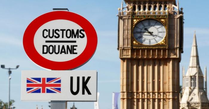 A model of a customs road sign is seen at 'mini-Europe' theme park in Brussels