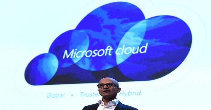 Microsoft CEO Satya Nadella speaks at a Microsoft tech gathering in Dublin