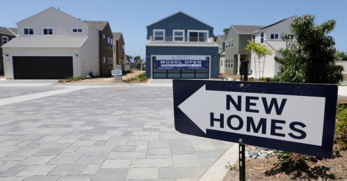 Newly constructed single family homes are shown for sale in Encinitas, California