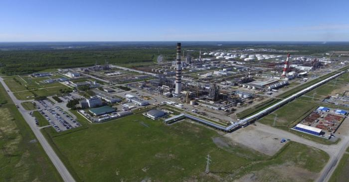 An aerial view shows the Achinsk oil refining factory, owned by Rosneft company, in Krasnoyarsk