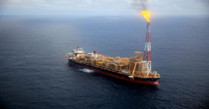 FILE PHOTO: Kaombo Norte floating oil platform is seen from a helicopter off the coast of